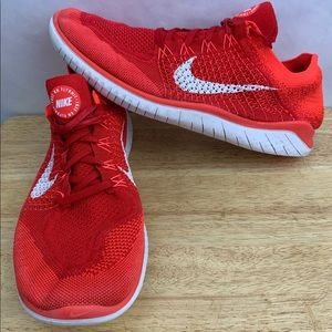 Nike Free RN Run Flyknit Running Shoes Red White